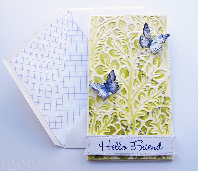 Flora - Distress Watercolour Embossing card
