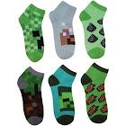 Minecraft Creeper Boys Ankle Socks 6 Pairs