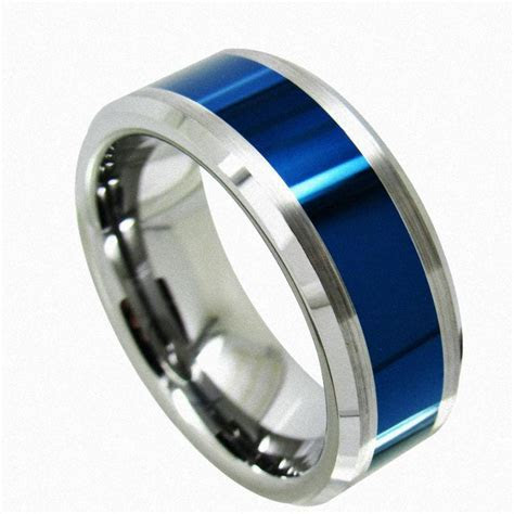 Queenwish Men Wedding Ring Tungsten Ring Blue Polished