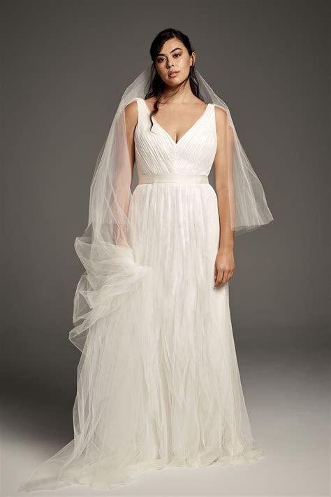 4XL8VW351448 Flutter Back Pleated Tulle Plus Size Wedding
