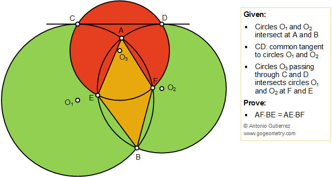 Geometry Problem 1437: Intersecting Circles, Common Tangent, Equal Product, Poster, iPad apps, Tutoring.