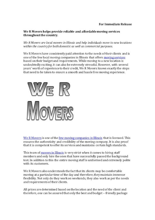 We R Movers helps provide reliable and affordable moving services thr…