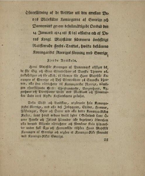 The Treaty of Kiel