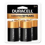 Duracell Alkaline Batteries with Duralock Technology, D, 4/Pack (DURMN1300R4Z)