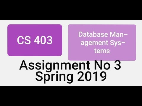 CS403 Assignment No 3 Spring 2019 Solution