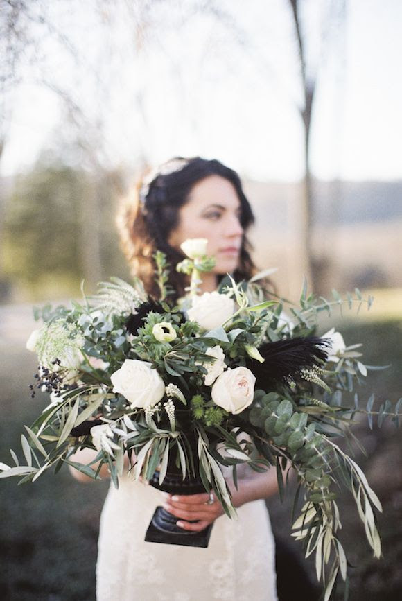 Modern wedding flowers with black accents