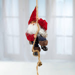 Climbing Santa on Rope, 8'' long x 3 1/2'' wide, Red/Burgundy, Craft Supplies