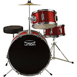 Union UJ3 3-pc. Junior Drum Set with Hardware, Cymbal and Throne, Red
