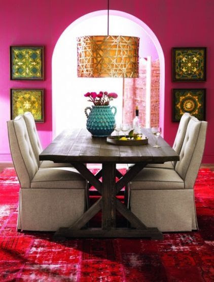 Bohemian style dining in saturated pinks paired with linen and gold
