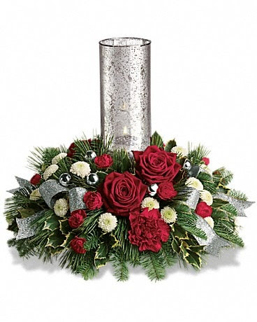 Teleflora S Snow Kissed Roses Centerpiece By Akron Colonial Florists Inc