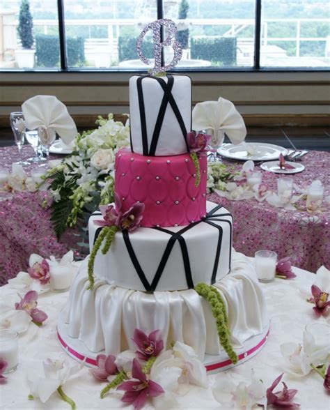 Modern Fuschia Wedding Cake