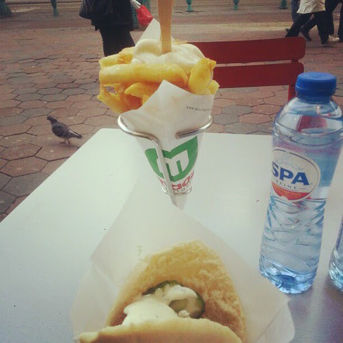 Falafel and fries with mayo at Maoz today. We walked 10 miles so we can handle some fried goodness! #Amsterdam #maoz