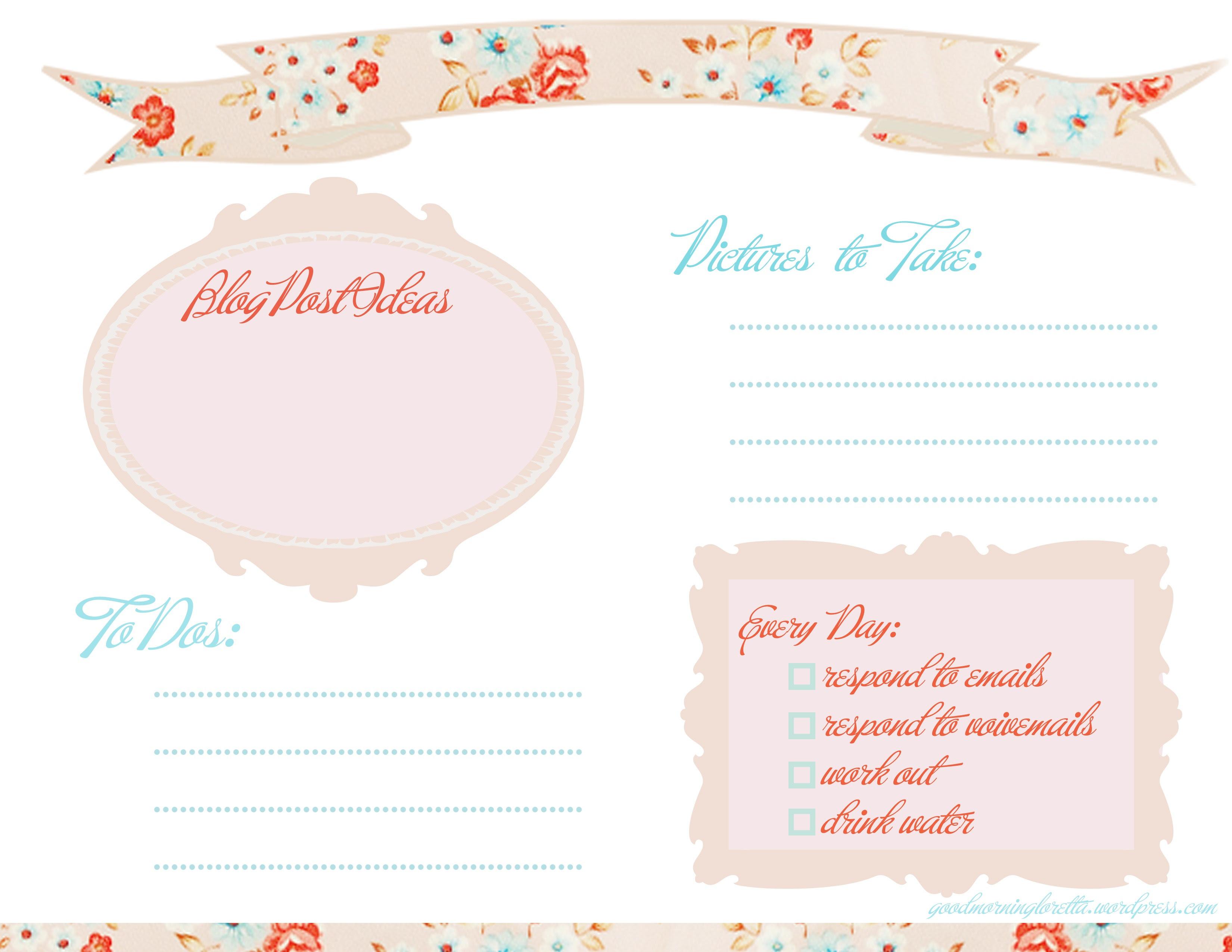 free daily blog planner | Good Morning Loretta!