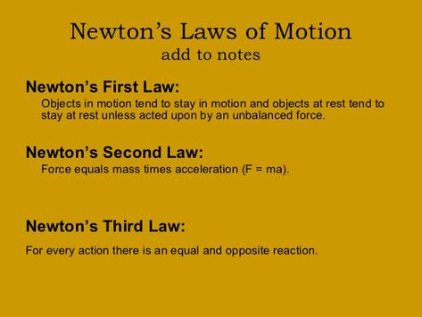 Isaac Newtons 3 Laws Of Motion