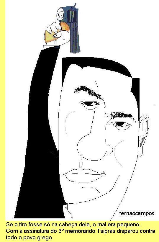 Tsipras, cartoon de Fernão Campos.