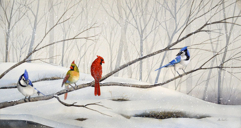 Cardinals And Blue Jays In Flight R Michelson Galleries