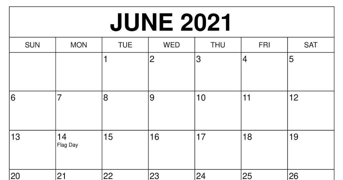 Blank June Calendar 2021 | Printable March