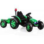 2 in 1 Electric 12V Kids Ride on Car Tractor with Remote Control LED Light Horn-Green - Color: Green