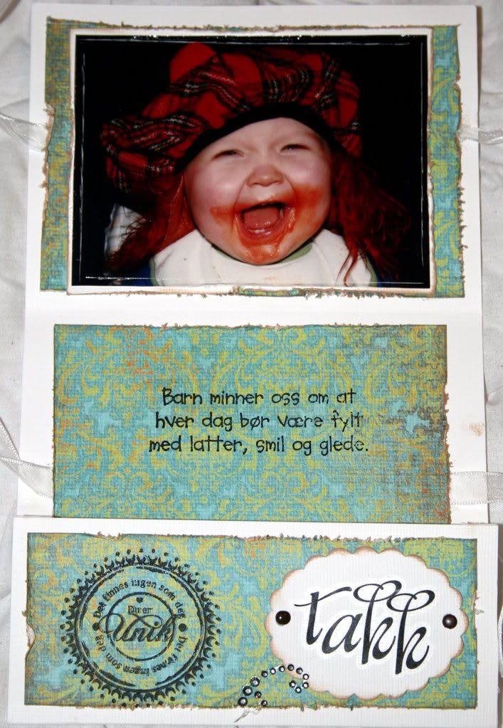 Slik ser mappekortet ut inni uten den lille hilsenen.. et klokt sitat spør du meg!