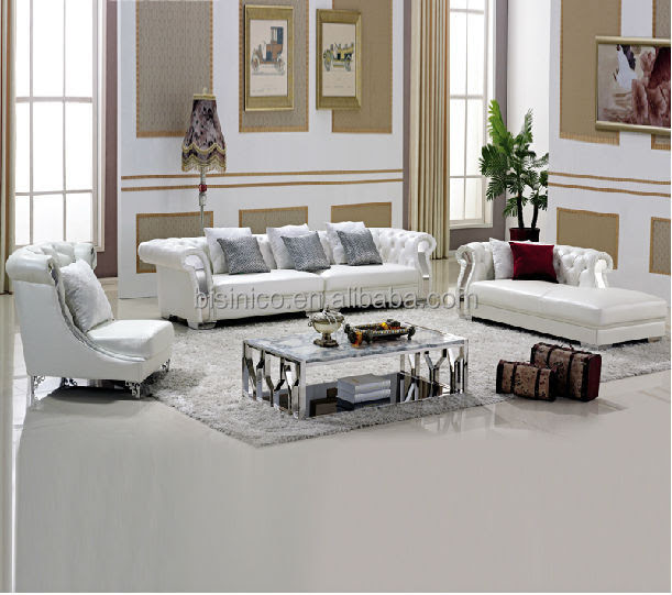 Pure White Chesterfield Leather Sofa,Coffee Table,Living ...
