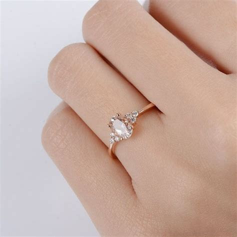 Rose Gold Engagement Ring Oval Cut Morganite Solitaire