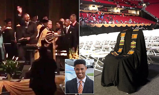 Father of murdered student accepts his degree at commencement