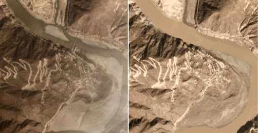 Satellite images and video of the breach of the Jinsha River landslide