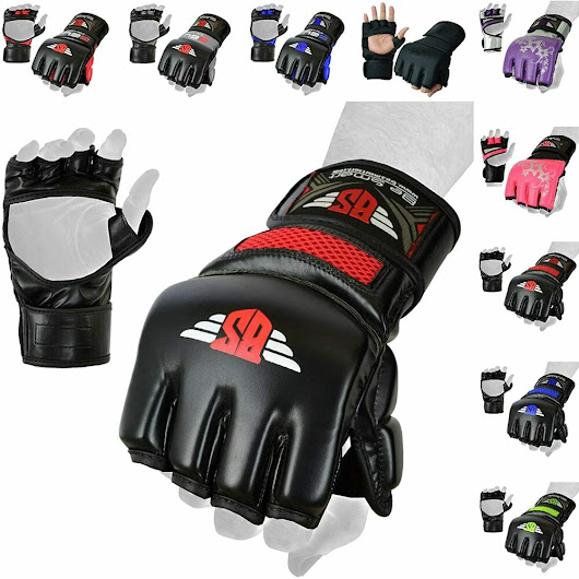 Details about Rex Leather Gel Tech MMA UFC Grappling Gloves Fight Boxing Punch Bag Training H