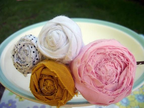 Rosette Headband in Mustard, Pink and Polka dots