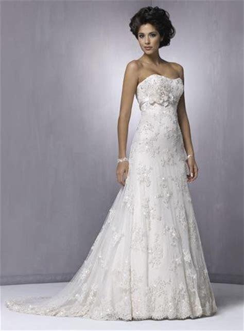 Slim Strapless Flower Beaded Lace A line Wedding Dresses