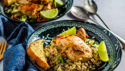 Chicken in Greek Yogurt Marinade with Herb & Garlic Rice