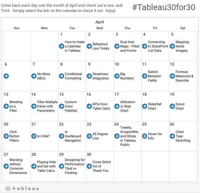 Tableau 30 for 30