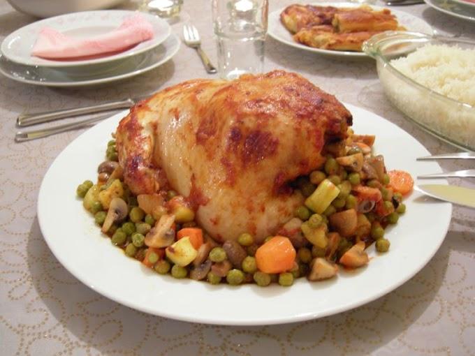 Sebzeyle Doldurulmuş Fırında Tavuk
