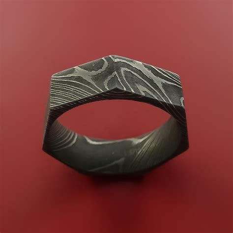 Damascus Steel Ring Heptagon Shape Acid Waive Pattern