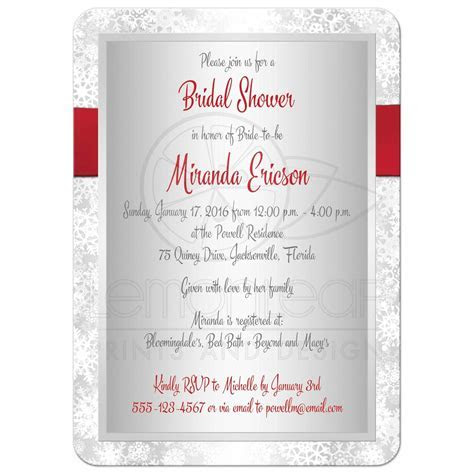 Bridal Shower Invitation   Red, Gray, White   Simulated