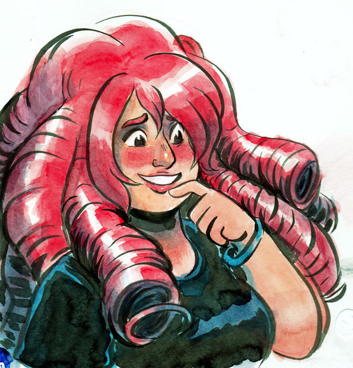 … I keep forgetting to upload twitter stuff on here. It's a Rose Quartz! Steven Universe fanart gets used a lot for watercolour experiments - in this case, I think I was testing waterproof inks +...