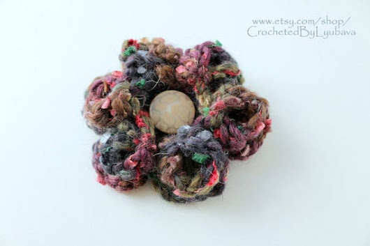 Multicolor Brown Crochet Brooch  3d Crochet Flower  Large