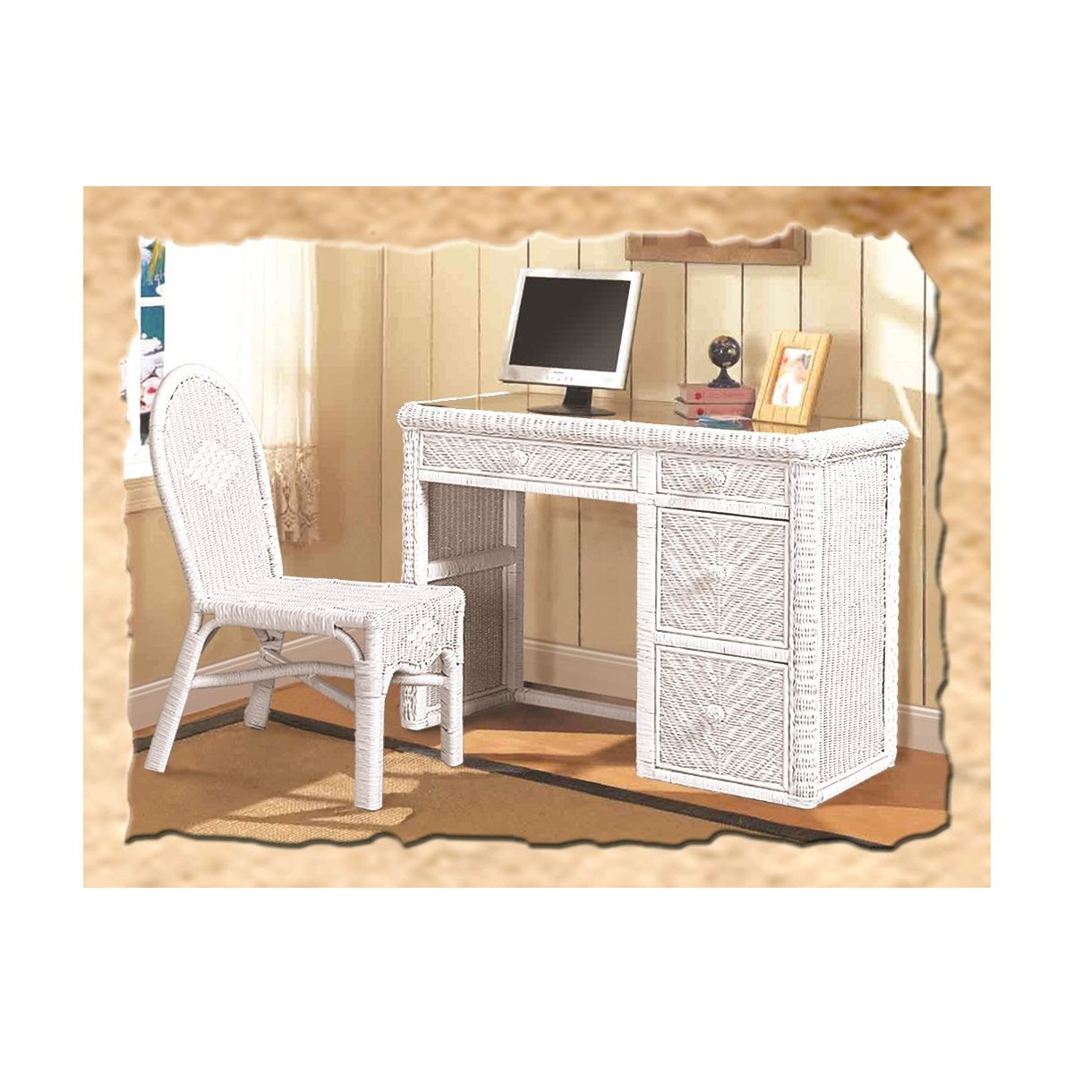 Sea Winds B57974 White Santa Cruz Computer Desk Chair Set In White Wicker