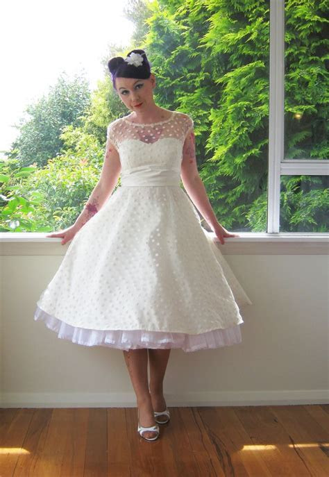 1950's Style Ivory Wedding Dress with Polka Dot Overlay