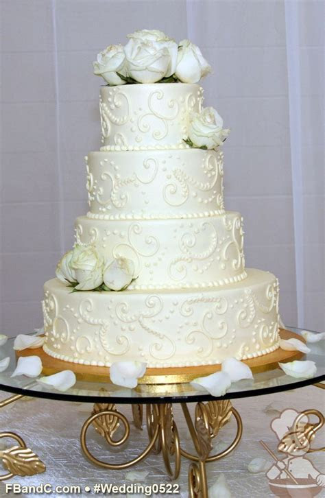 "Design W 0522   Butter Cream Wedding Cake   14"" 10"" 8"" 6"