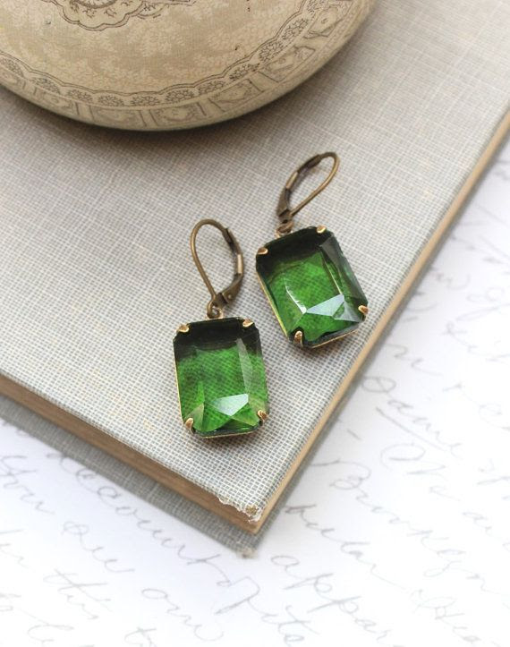 Green Earrings Dark Green Rhinestones Octagon Jewel Copper Glass Gems Vintage Style Jewellery Old Hollywood Christmas Nickel FreeLeverback