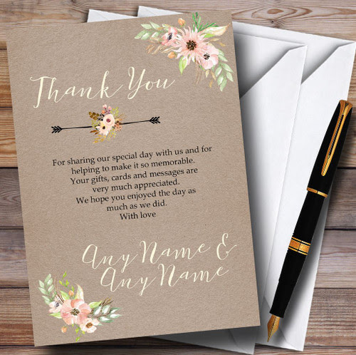 Rustic Sunflowers Vintage Personalised Wedding Thank You Cards The