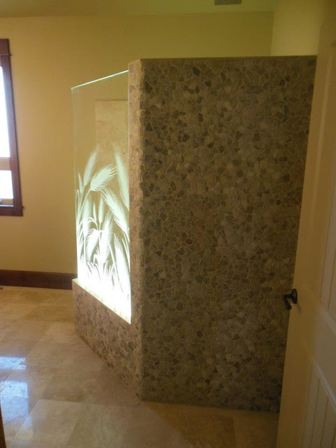 Glass Shower with Frosted, Carved Wheat Stalks - eclectic ...