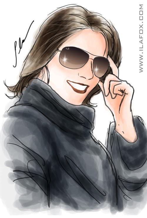 retrato colorido aquarelado mulher de óculos, jaqueline by ila fox
