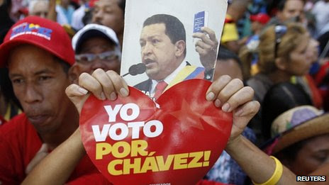 Chavez supporters outside National Assembly, Caracas. 5 Jan 2013
