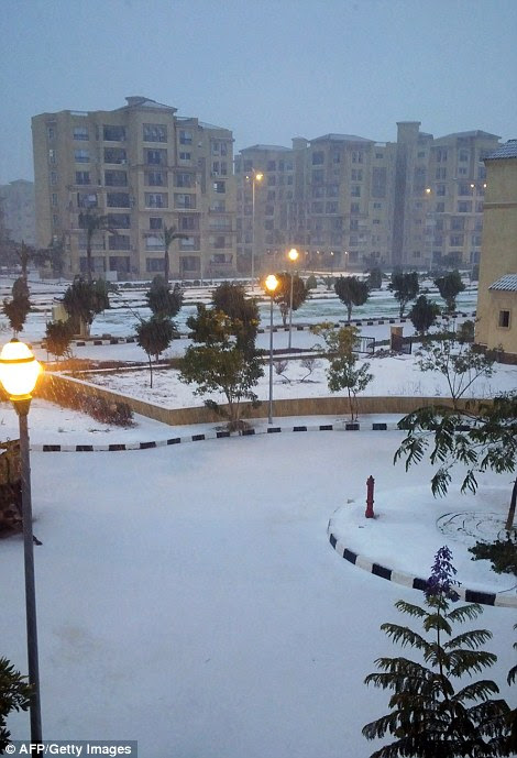 Snow in the Egyptian town of Madinaty, 40 kms east of Cairo, today