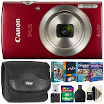 Canon PowerShot IXUS 185 / Elph 180 20MP Ultra Slim Camera Red with Kids Photo Editing Scrapbooking Collection Kit