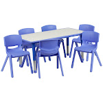 Flash Furniture YU-YCY-060-0036-RECT-TBL-BLUE-GG 23.625 x 47.25 in. Rectangular Blue Plastic Height Adjustable Activity Table Set with 6 Chairs