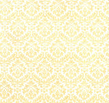 Flocked Ivory Damask on White