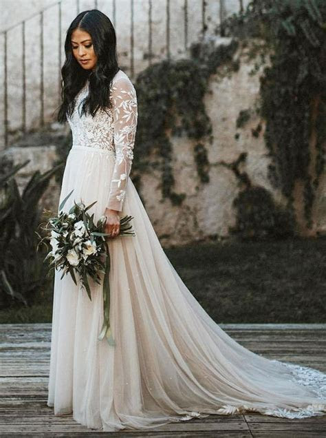 Boho Wedding Dresses with Long Sleeves,Tulle Wedding Dress